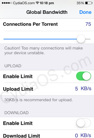 Best iPhone Torrent Downloader App for iOS 7 : iTransmission 4