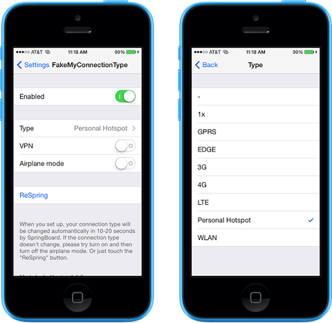 fakemyconnectiontype free cydia tweak