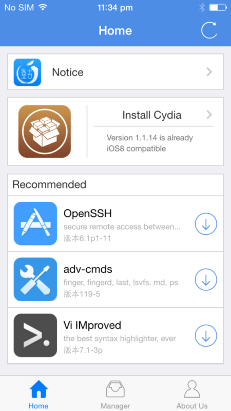 tap on Install Cydia