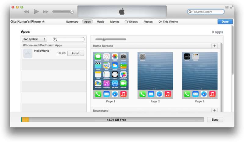 Install App via iTunes