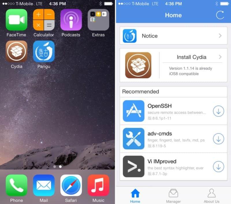 Pangu app after jailbreak iOS 8.1