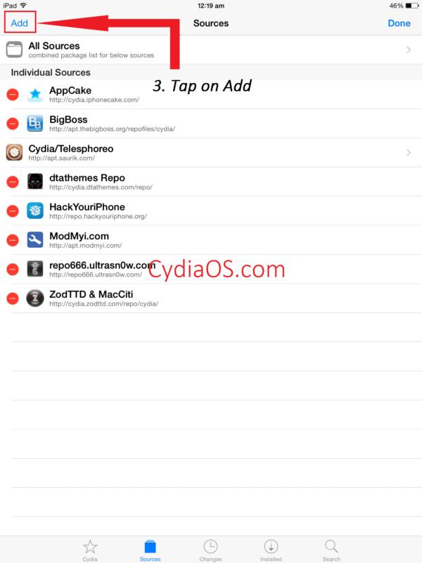Add new repos to Cydia
