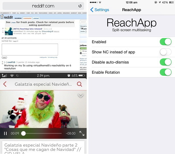 ReachApp iOS 8 Cydia tweak