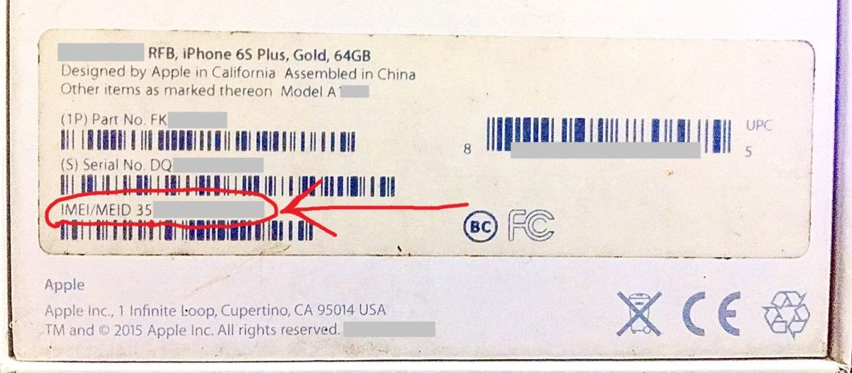 IMEI Number on iPhone Package