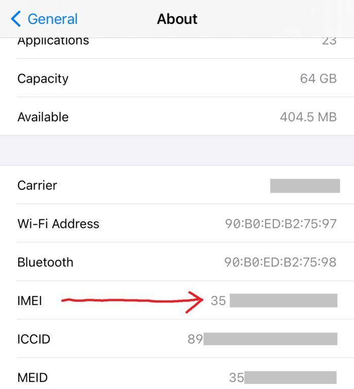 IMEI Number in iPhone Settings