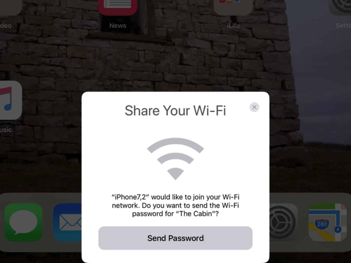 share wifi password from macbook