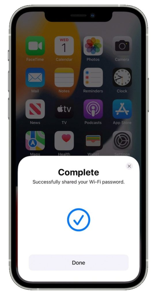 Sharing wifi password from iPhone