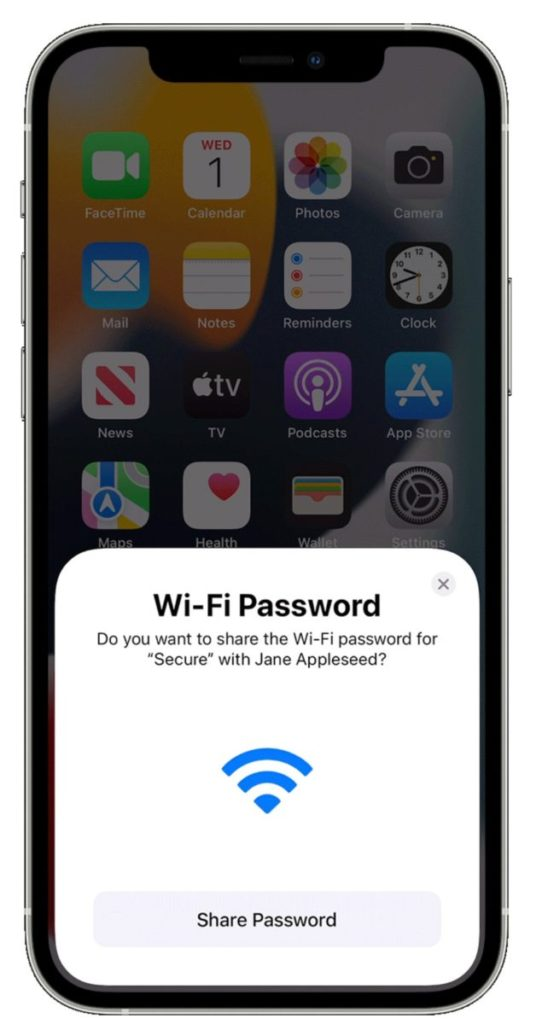 share wifi password from iPhone