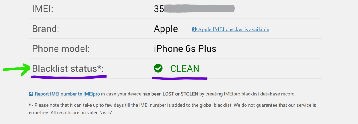 IMEI check results on website