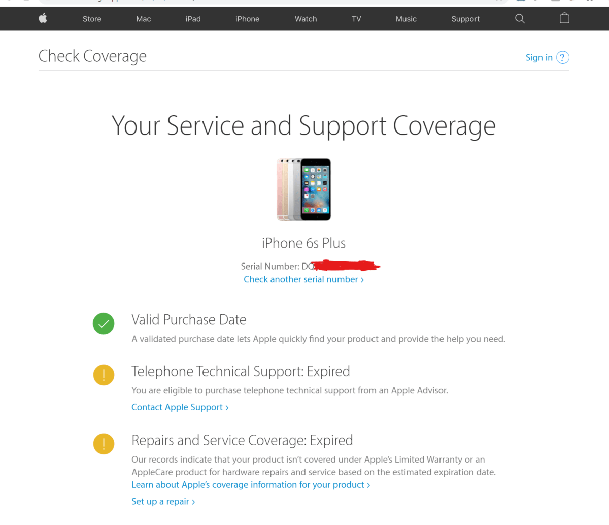 iPhone Coverage check using serial number