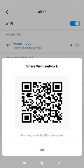 QR code for wifi password sharing