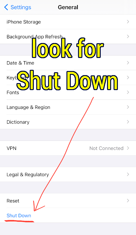 Shut Down option present inside of Settings in iPhone